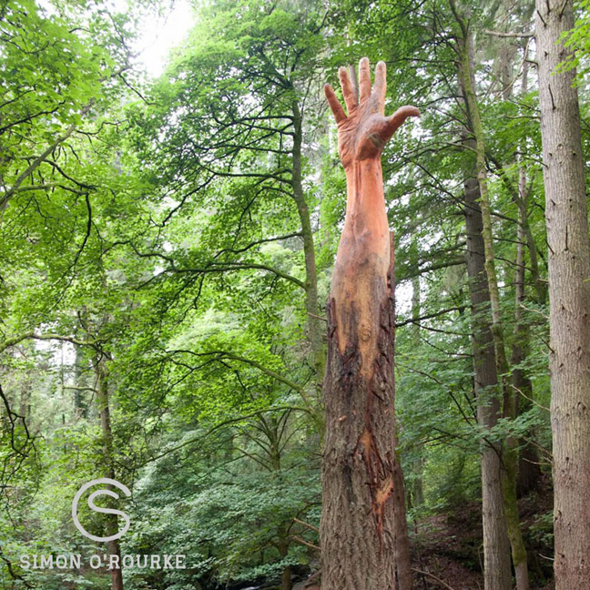 chainsaw and brush giant hand of vyrnwy prints are based on this image of the sculpture
