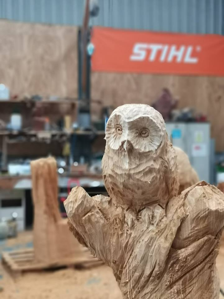 Owl for the Page's Wood Commission in progress in Simon O'Rourke's workshop