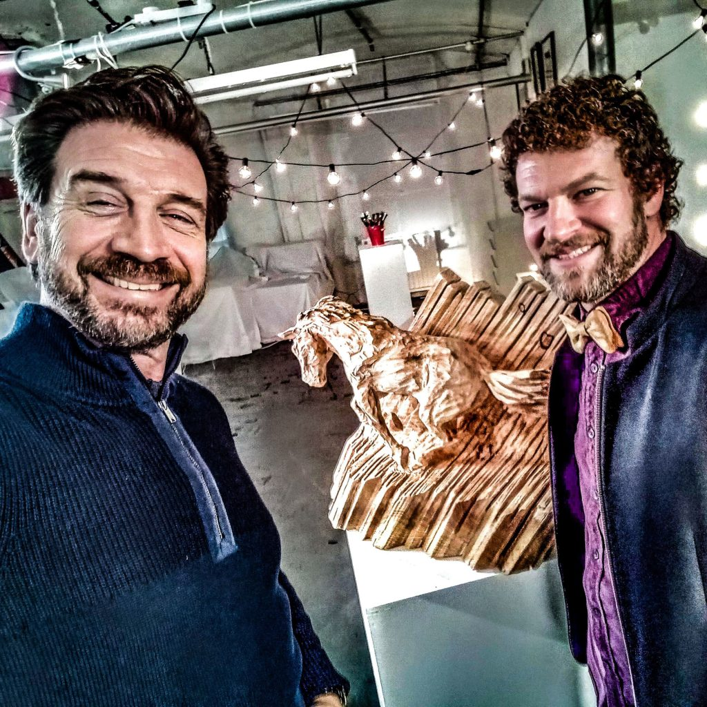 Simon O'Rourke with Nick Knowles and the horse sculpture he created for Home is Where the Art is