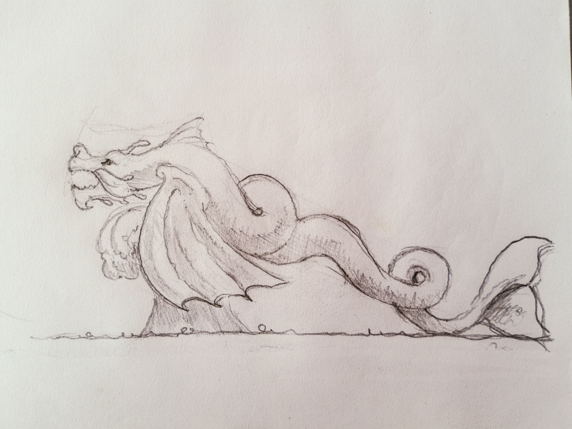 Initial sketch of Water Dragon by Simon O Rourke and Keiji. Learn these skills in our online art courses with Simon.
