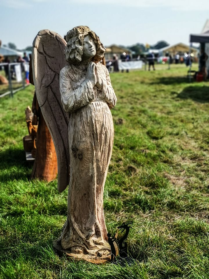 Angel carved by Simon O'Rourke at the English Open Chainsaw Carving Competition
