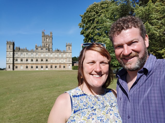 Simon and Liz O'Rourke at Highclere Castle, home of his airman sculpture