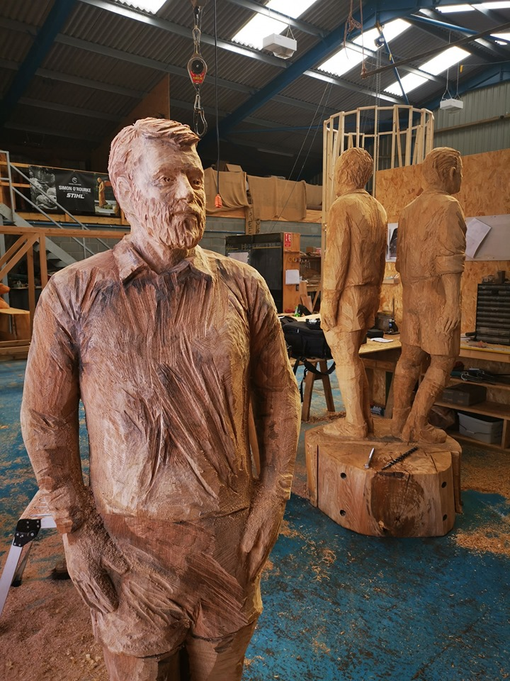 Queen of the South FC statue in process after a player had been removed, allowing Simon to access the backs of the other players