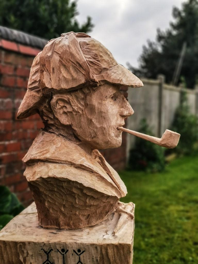 Oak Sherlock Holmes Bust by Simon O'Rourke