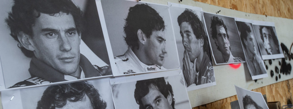 Images of Ayrton Senna in the workshop of Simon O'Rourke