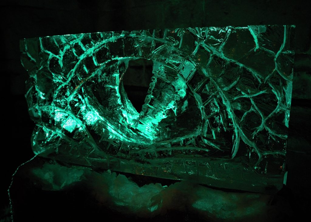 Dragon eye at Ice Carving for Wrexham by Simon O'Rourke