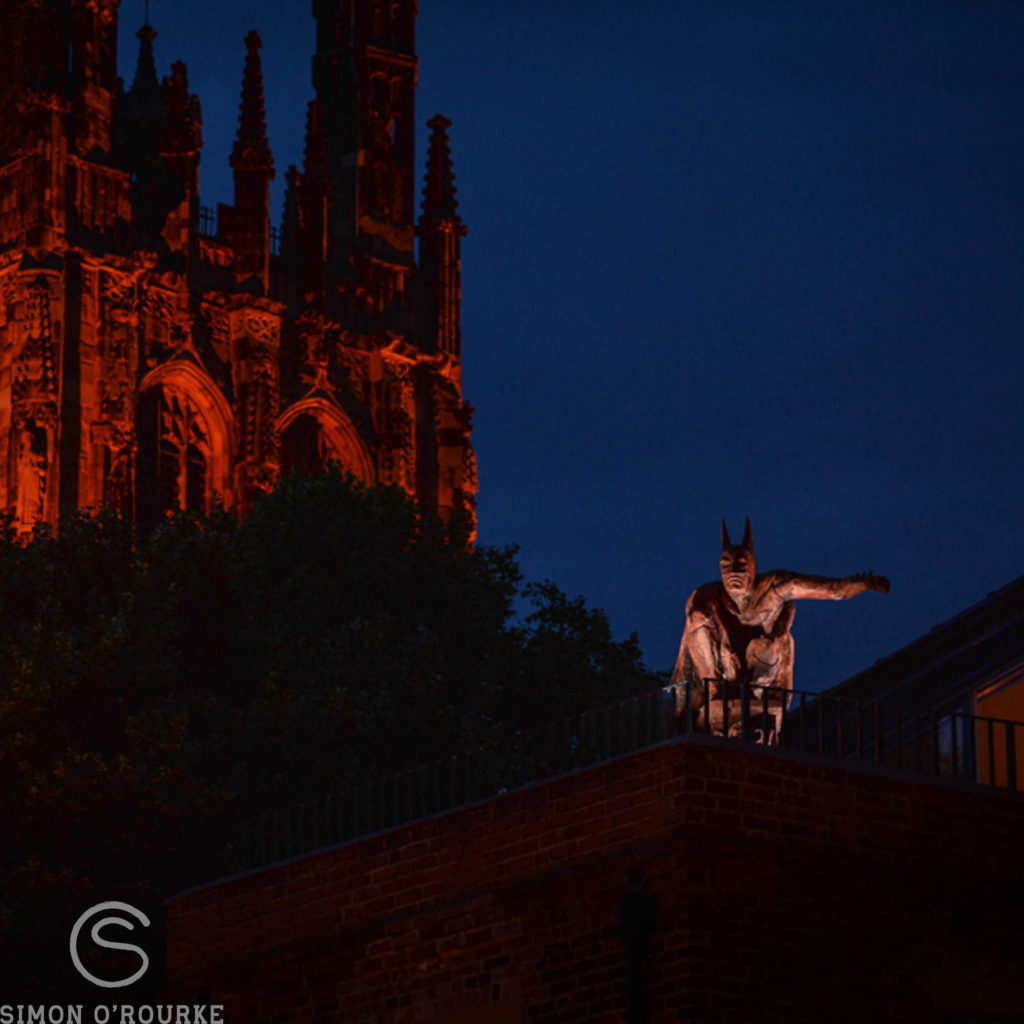 Batman by Simon O'Rourke and St Giles Church Wrexham