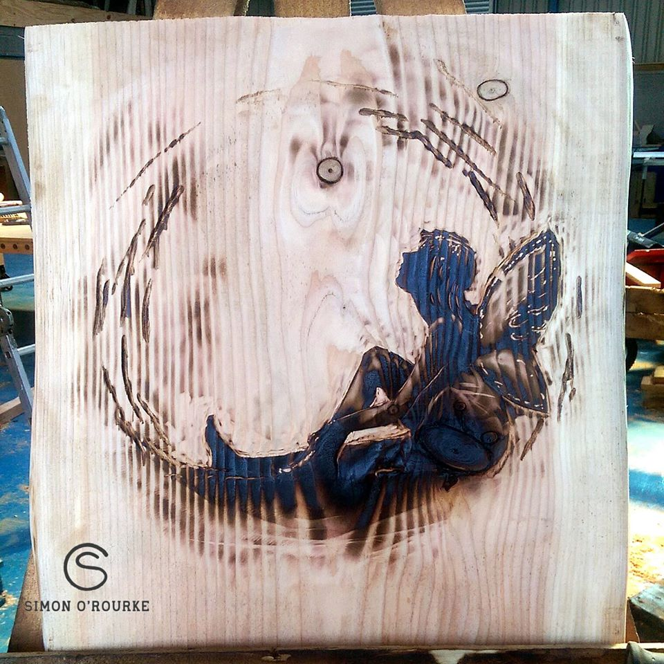 Pyrography fairy wall hanging illustration by Simon O'Rourke