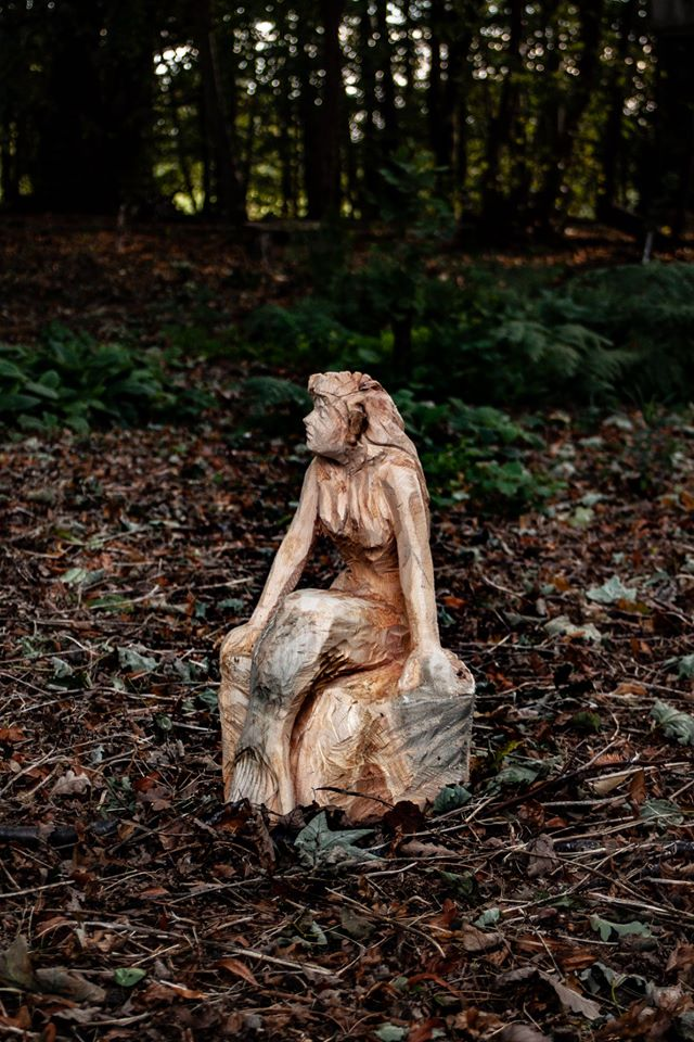 Sculptures based on literature: a tree carved little mermaid by Simon O'Rourke
