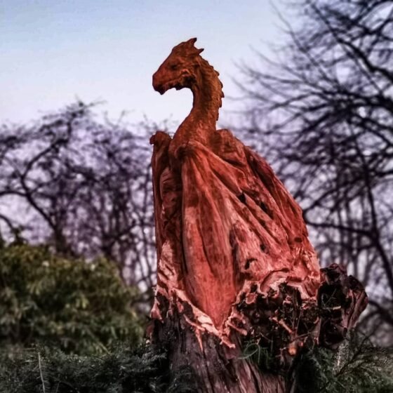Dragon sculpture in Yew