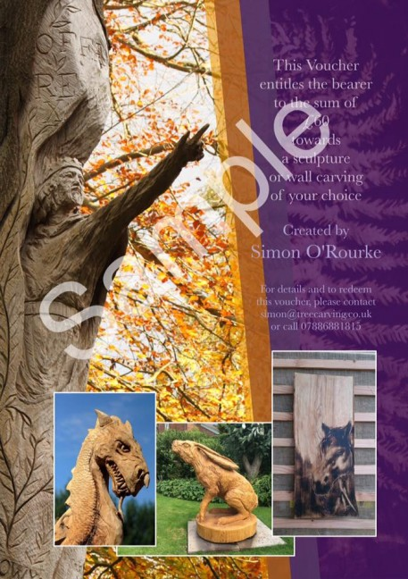 Gift vouchers are now available at Simon o'Rourke tree carving