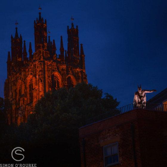 Batman by Simon O'Rourke and St Giles Church Wrexham