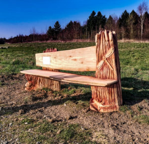 Bench as part of the Sculpture Trail by Simon O'Rourke in Page's Wood