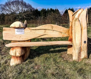 Final bench of Sculpture Trail Two in Page's Wood by Simon O'Rourke