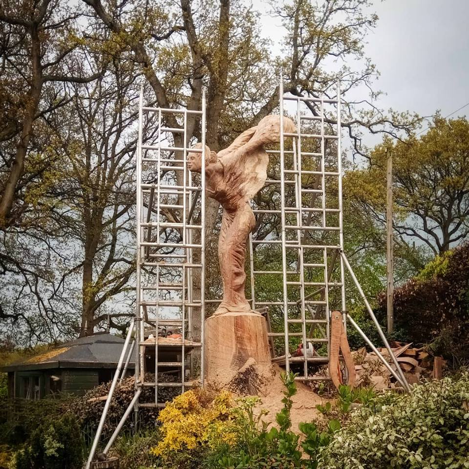 Scaffolding in place for work on a sculpture