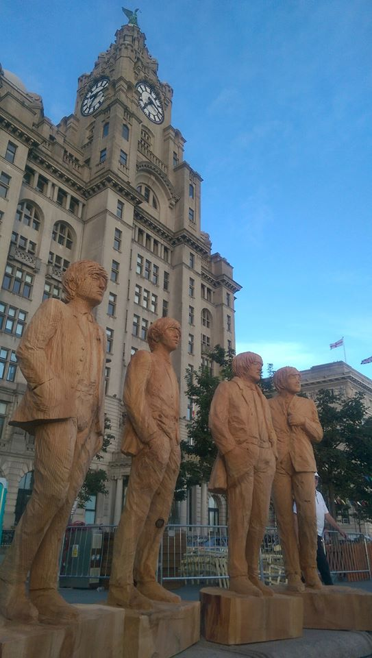 Beatles Sculptures outside the Liver building for Global Beatles Day