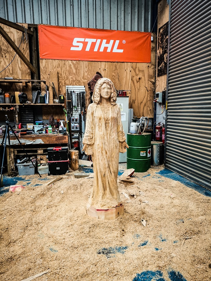 Mary sculpture in progress in Simon O'Rourke's workshop