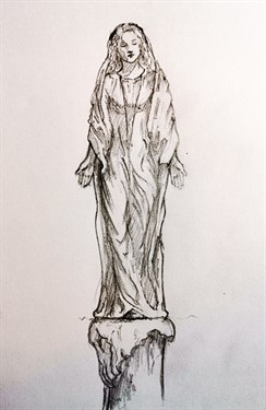 Early sketches of Our Lady of Pen Llyn by Simon O'Rourke