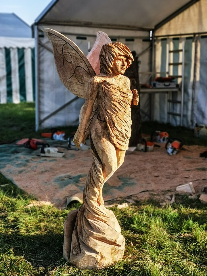 Fairy carved by Simon O'Rourke at The English Open Chainsaw Competition