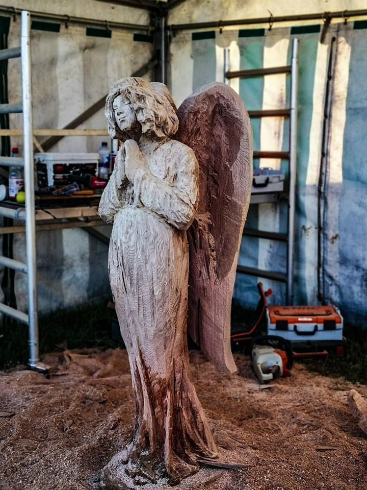 Angel carved by Simon O'Rourke at the English open Chainsaw Competition