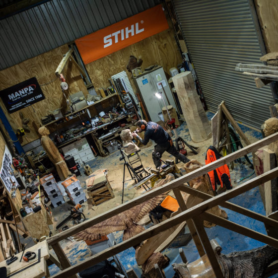A view of Simon O'Rourke's tree carving workshop. Working with Acton Health and Safety has kept us compliant.