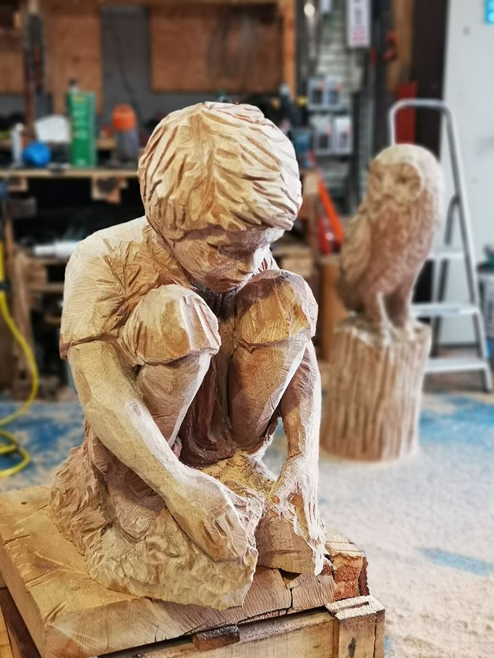 Trees for Kids sculpture by Simon O'Rourke in progress at the workshop