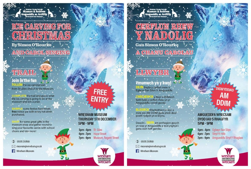 Wrexham Ice Carving for Christmas posters 2019 featuring Simon O'Rourke