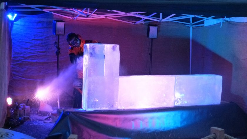Simon O'Rourke at the start of 2017's Ice Carving for Christmas event