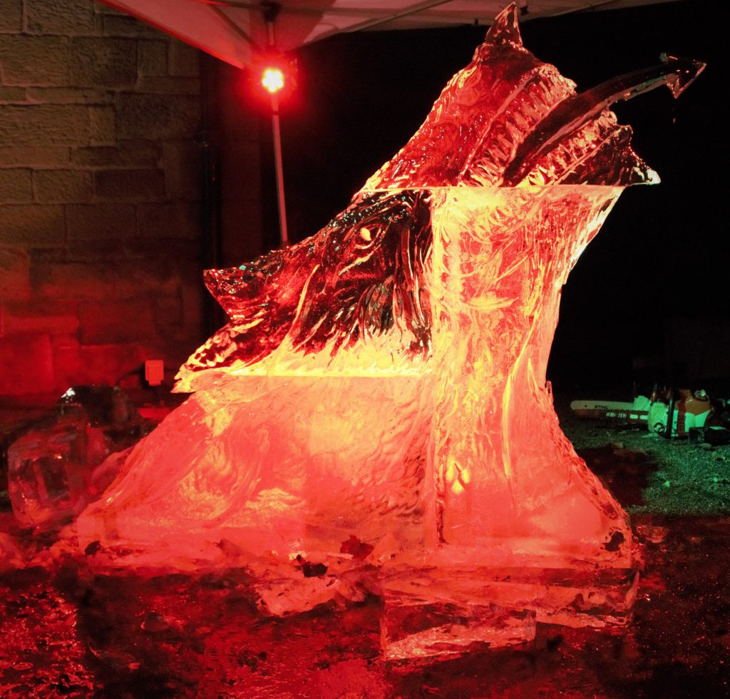 Ice Carving for Wrexham Museum Christmas 2019 Finished dragon head by Simon O'Rourke