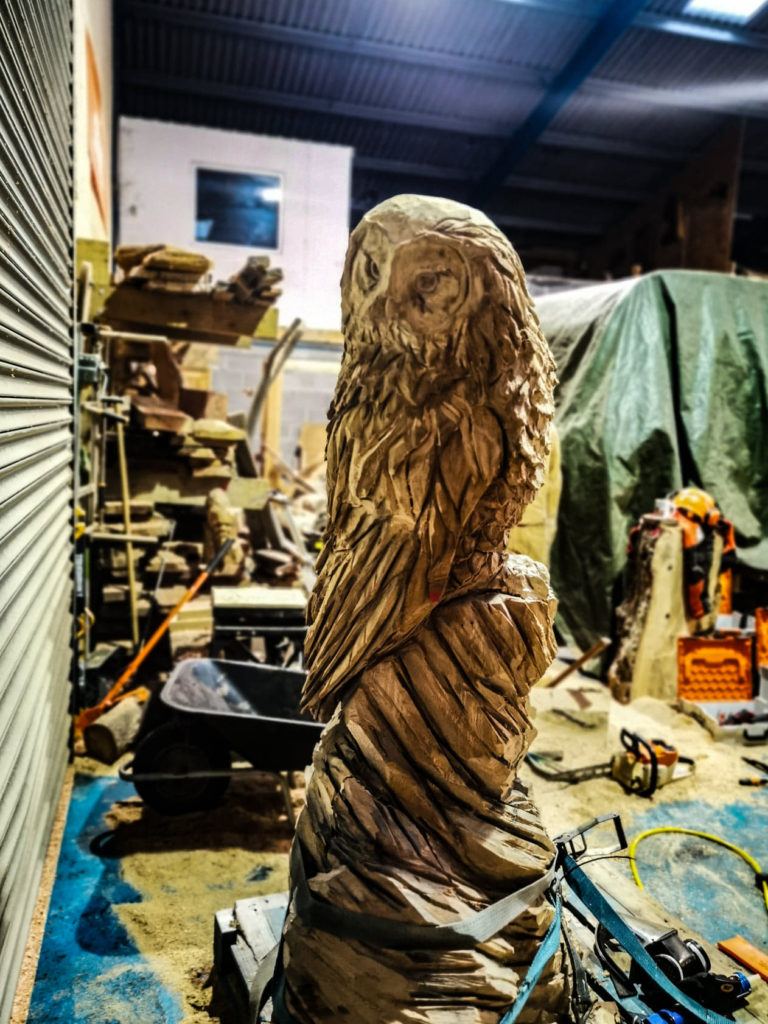 A bespoke tawny owl by Simon O'Rourke for the town of Pocklington, Yorks
