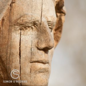 How best to position a sculpture within a log: ensure cracking enhances the sculpture. This photo shows a close up of an oak face sculpture. It has vertical cracks along the cheek.