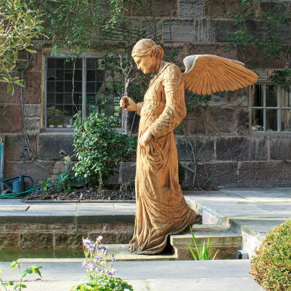Angel at the Pool of Bethesda sculpture by Simon O'Rourke at Biddulph Old Hall