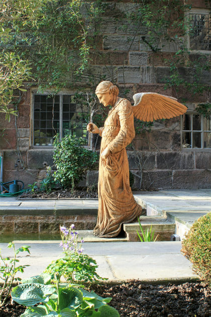 Angel at the Pool of Bethesda sculpture by Simon O'Rourke at Biddulph Old Hall, Sculpture for historic property