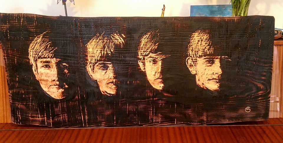 Beatles illustration in wood wall hanging by Simon o'Rourke