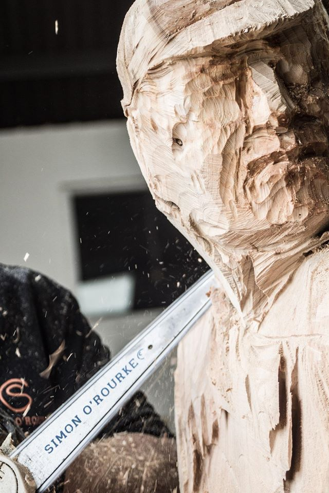 Simon O'Rourke work in progress using chainsaw bars from our collaboration with chainsawbars.co.uk