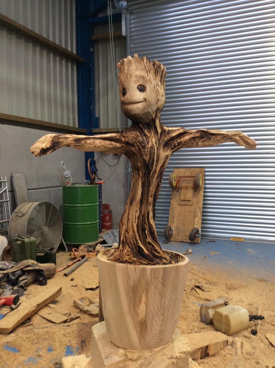 groot tree carving sculpture by simon o'rourke