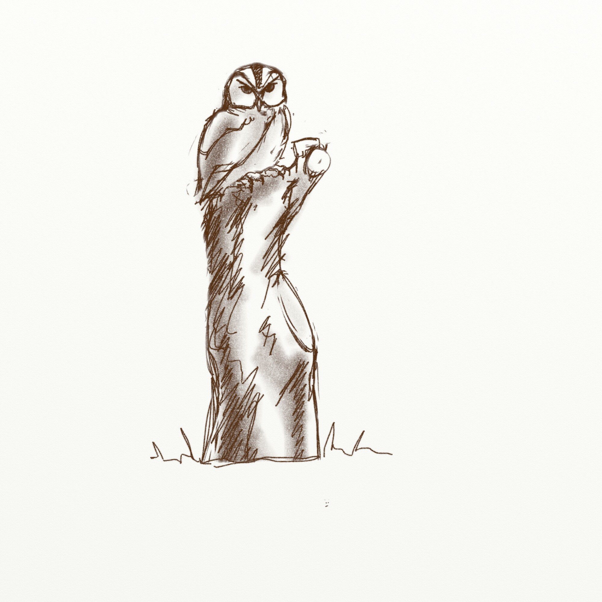 Original concept sketch of Ruby the Owl from meadow park woodland sculpture trails by simon o'rourke