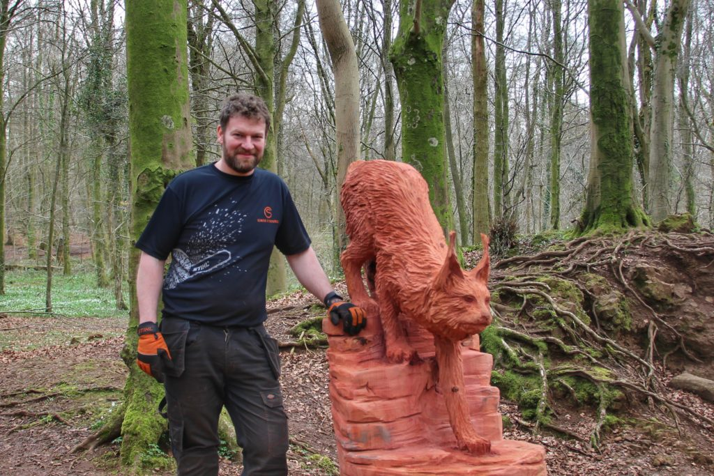 Tree carving chainsaw artist simon o'rourke photographed with the redwood lynx from the fforest fawr woodland sculpture trail he created