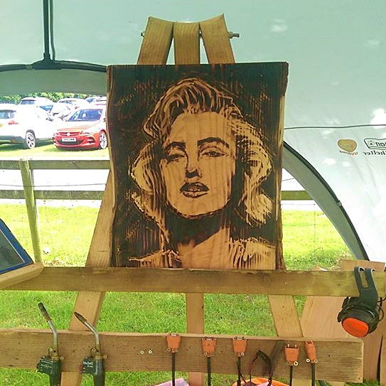 prefect portrait for you series featuring a pyrography portrait of marilyn monroe by simon o'rourke