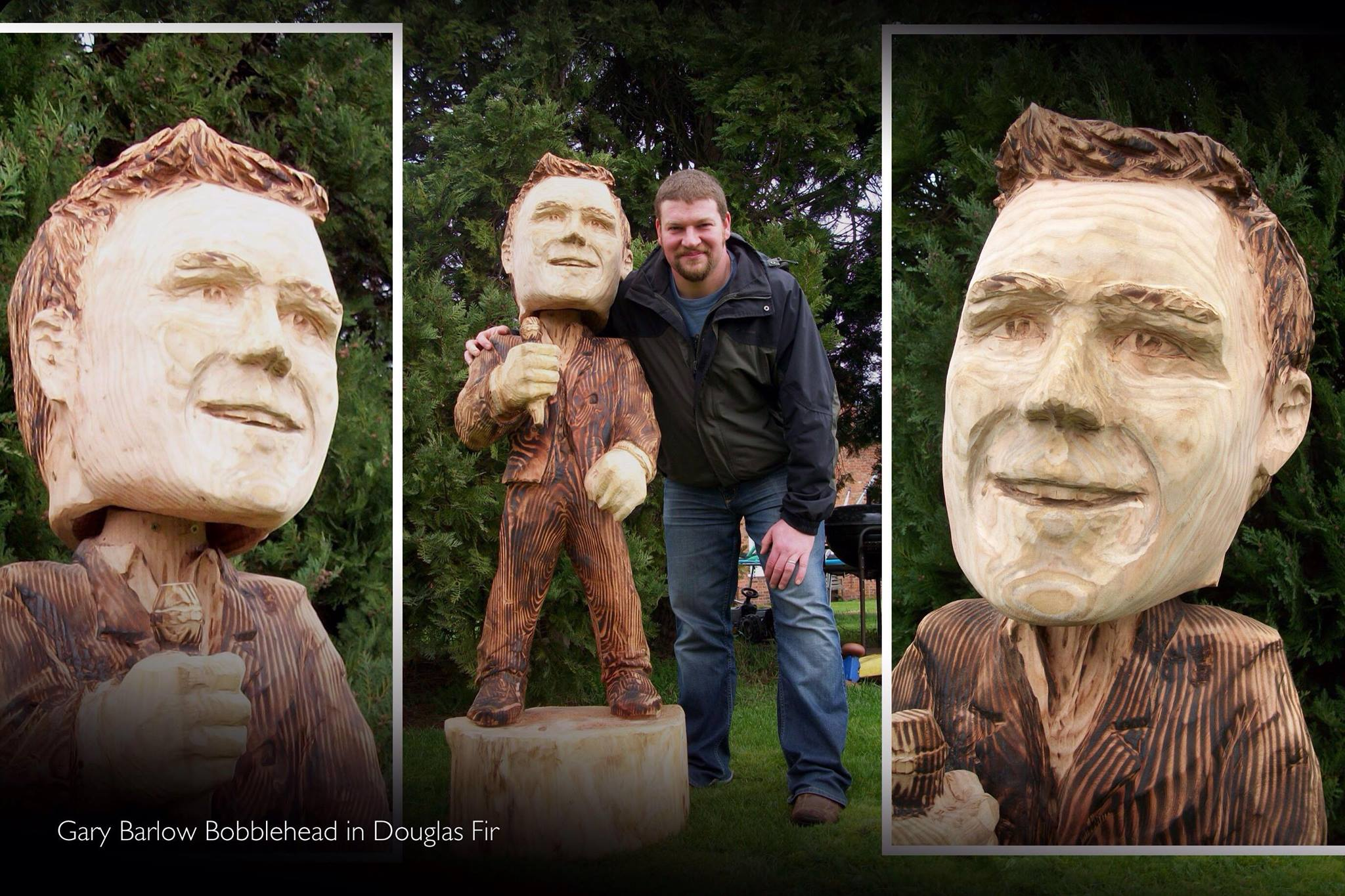 The perfect portrait for you, your space and your preferences might be something fun like this bobblehead sculpture of Gary Barlow. In the photo simon o'rourke is pictured with three shots of a full size sculpture of gary barlow with a disproportionately large head!