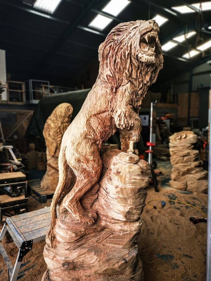 An oak sri lankan lion sculpture by artist Simon O'Rourke depicting a 'real life' version of the sri lankan lion holding a sword. The lion is in the workshop surrounded by tools and carving paraphernalia
