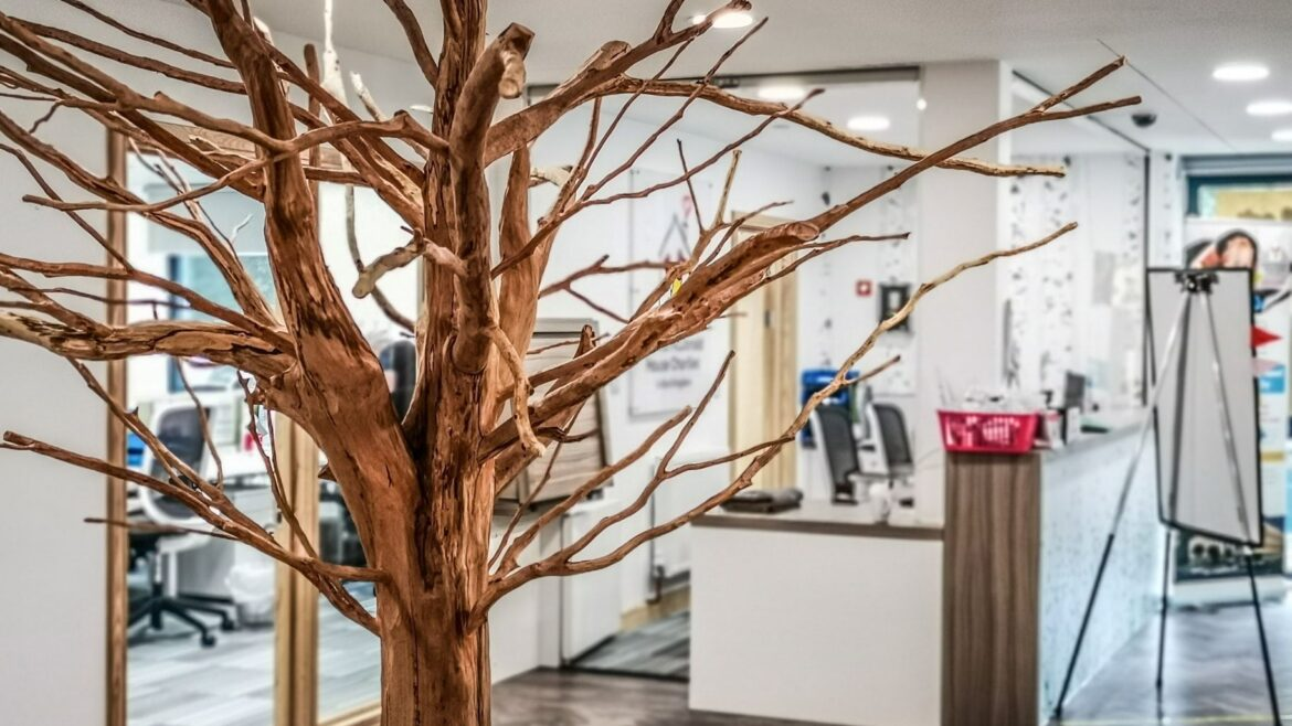 giving tree sculpture by simon o'rourke. the sculpture is photographed in the entrance to ronald mcdonald house, oxford