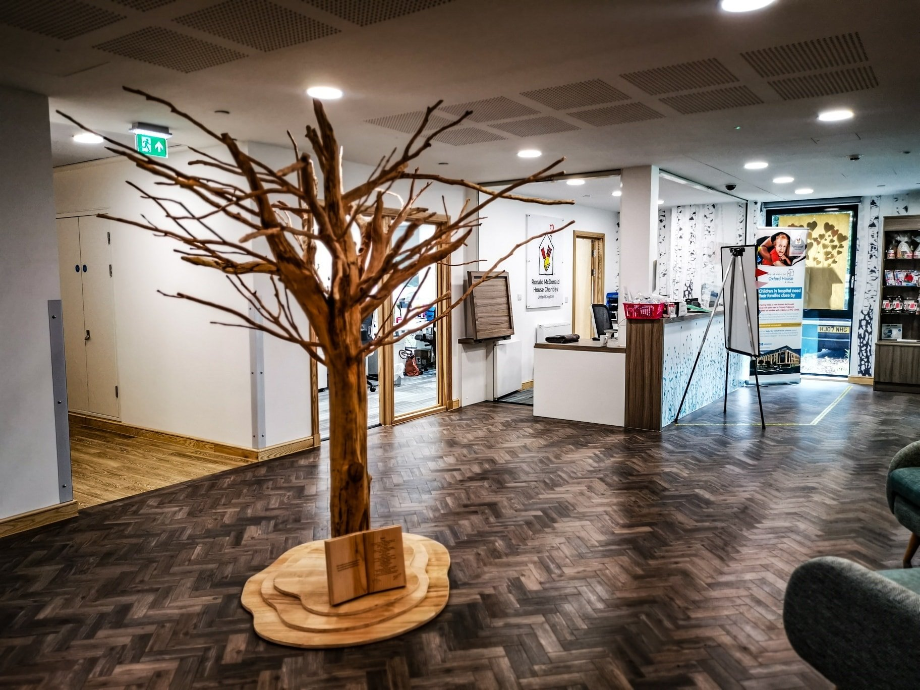 the giving tree sculpture by simon o'rourke installed in ronald mcdonald oxford house