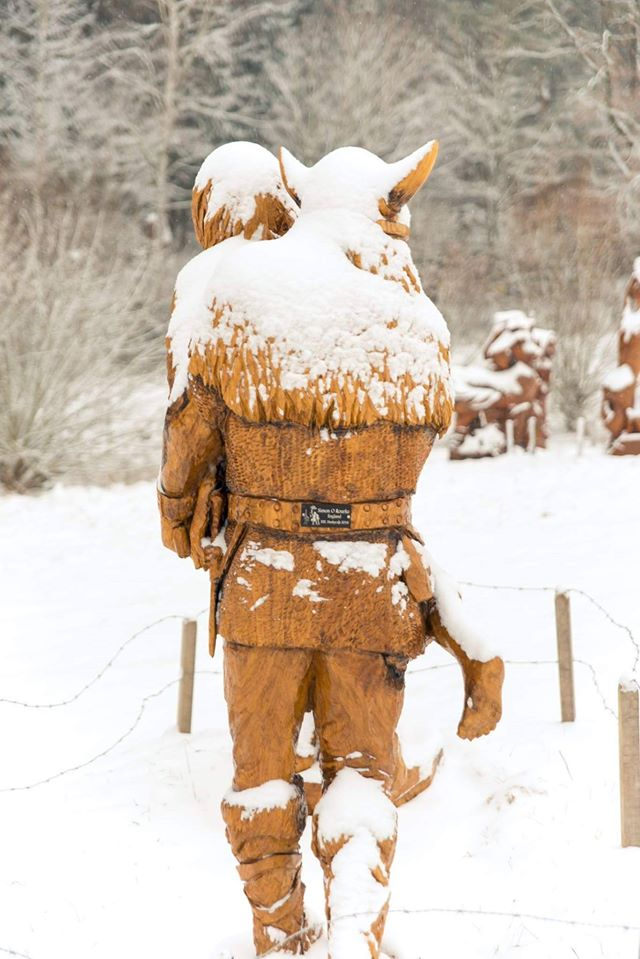 viking raid sculpture by Simon O'Rourke in the snow