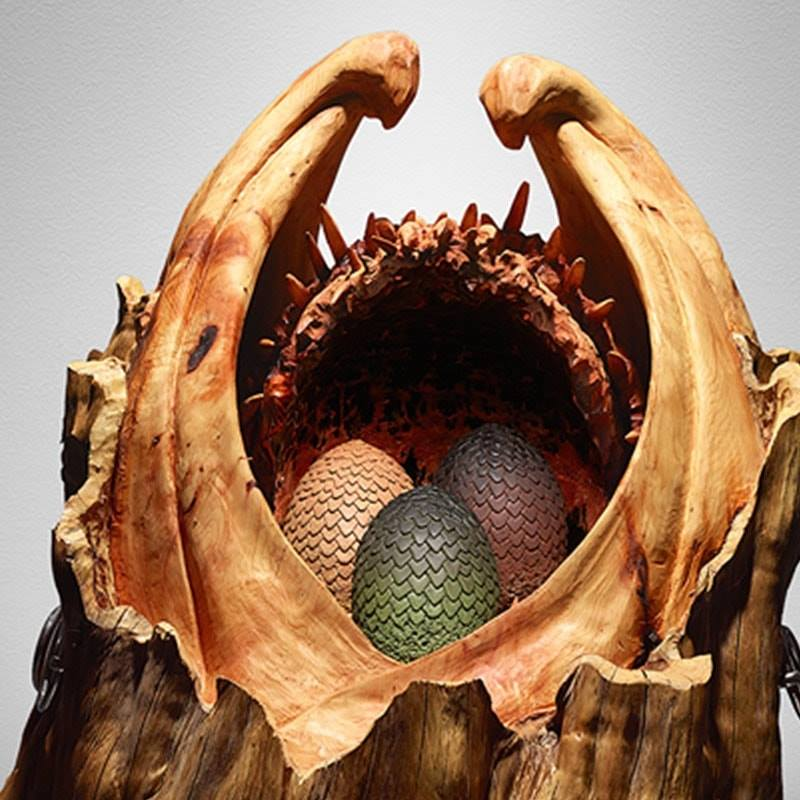tv themed sculptures: egg case for game of thrones by simon o'rourke