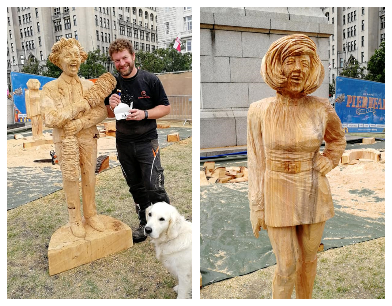 tv themed sculptures by simon o'rourke. To-scale wooden sculptures of Cilla Black and Ken Dodd outside the Liver Building