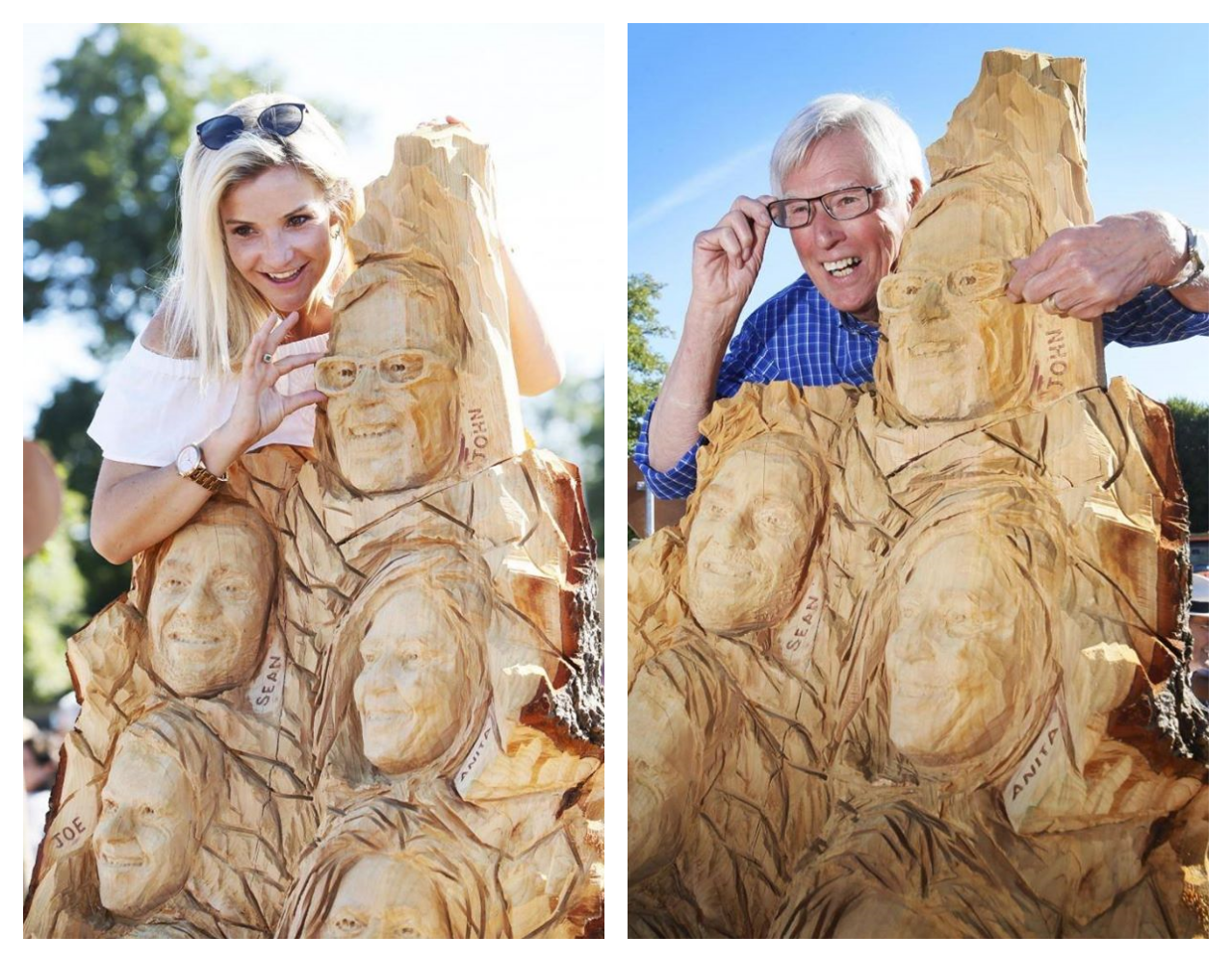 tv themed sculptures: countryfile presenters stand with their likeness created in wood by simon o'rourke