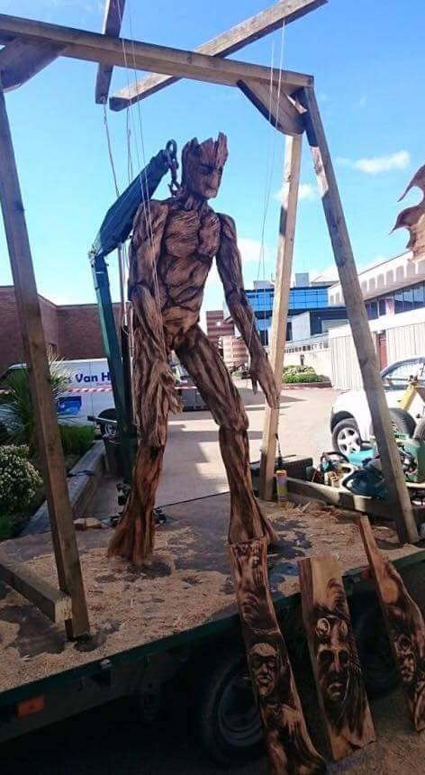 giant groot marionette tree carved sculpture by simon o'rourke