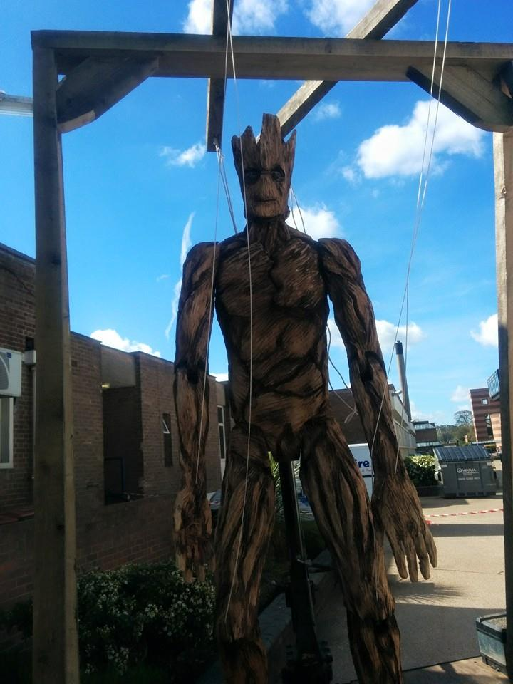 sculptures based on movies: giant groot marionette by simon o'rourke