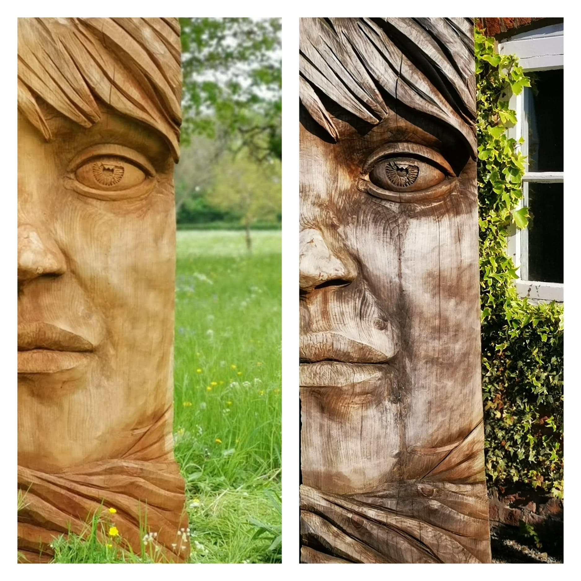 Wood or Bronze Sculpture: A side-by-side photo shows the same wooden sculpture of a stylised woman's face years apart. Photo one is warm and smooth. Photo two has taken on rich, grey hues, and the weatherted wood now has the character of a real face
